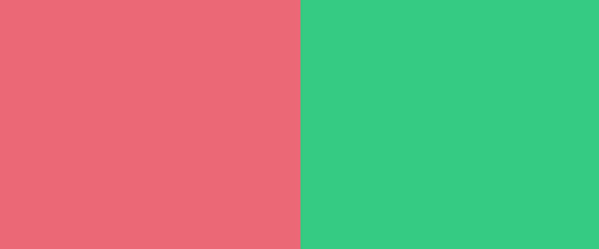 ピンクと緑色の2つの4角形が並んだ画像